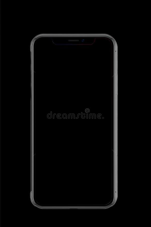 Ένα κινητό iPhone Χ στο μαύρο έγγραφο στοκ εικόνες