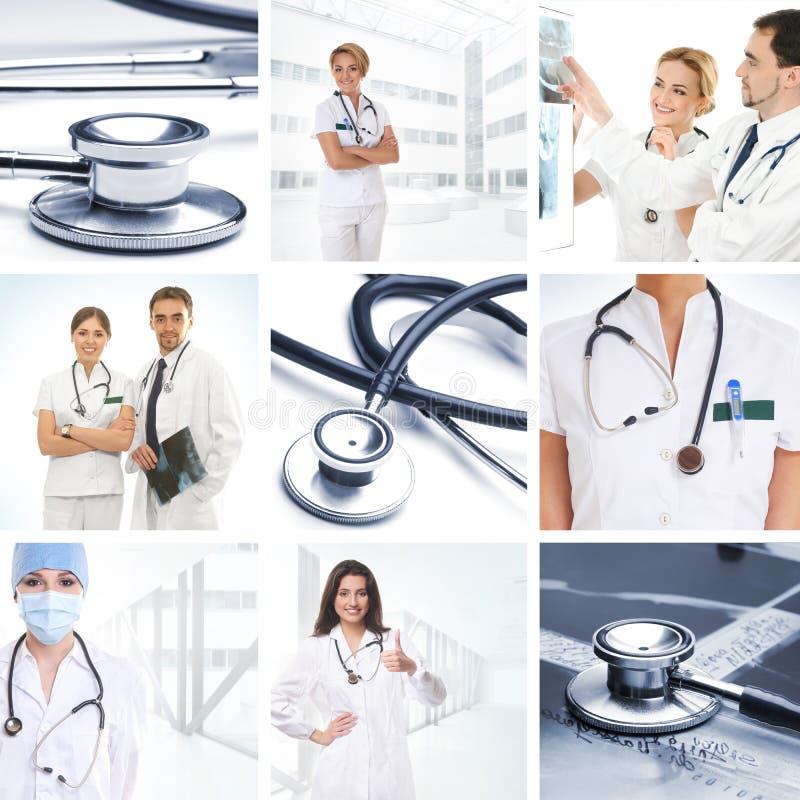 Ένα κολάζ των ιατρικών εικόνων με τους γιατρούς και τα εργαλεία στοκ εικόνες