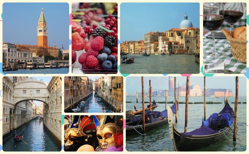 Ένα κολάζ των φωτογραφιών της έλξης Βενετία Ιταλία στοκ εικόνες