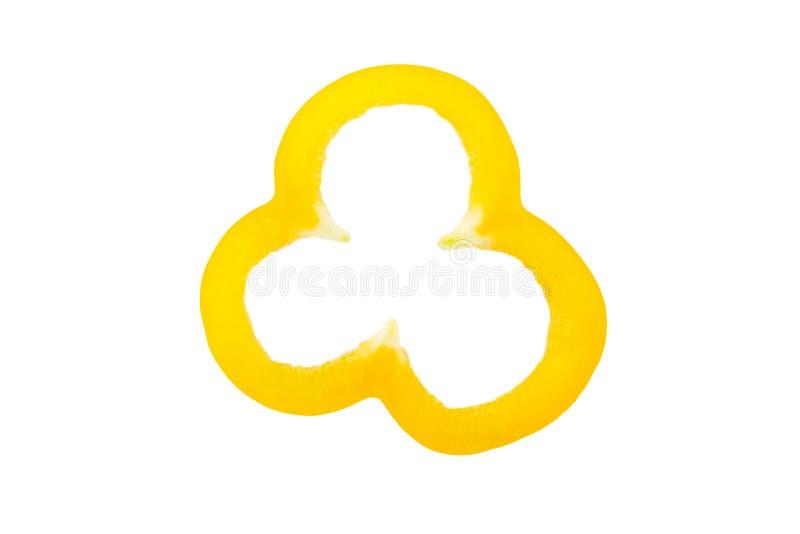 Ένα κομμάτι της κίτρινης πάπρικας σε ένα απομονωμένο άσπρο υπόβαθρο στοκ εικόνα με δικαίωμα ελεύθερης χρήσης