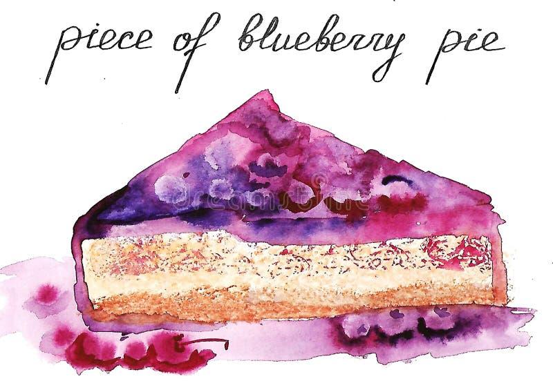 Ένα κομμάτι της πίτας βατόμουρων και κερασιών διανυσματική απεικόνιση