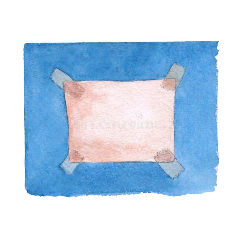 Ένα κομμάτι χαρτί συνδέθηκε με ένα μπλε υπόβαθρο στην ταινία διανυσματική απεικόνιση