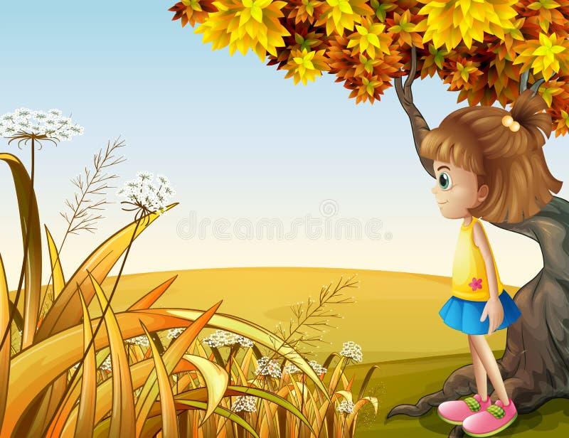 Ένα κορίτσι εκτός από το γιγαντιαίο παλαιό δέντρο διανυσματική απεικόνιση