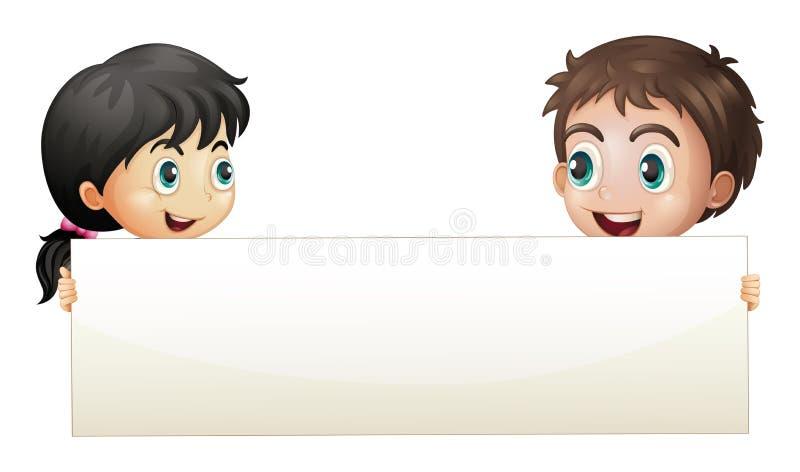 Ένα κορίτσι και ένα αγόρι που κρατούν ένα κενό έμβλημα ελεύθερη απεικόνιση δικαιώματος