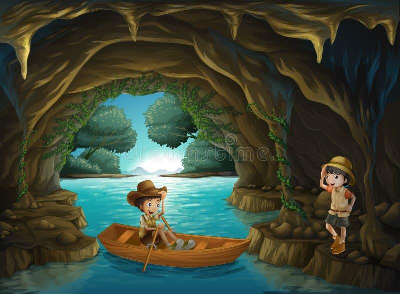 Ένα κορίτσι και ένα αγόρι στη σπηλιά ελεύθερη απεικόνιση δικαιώματος
