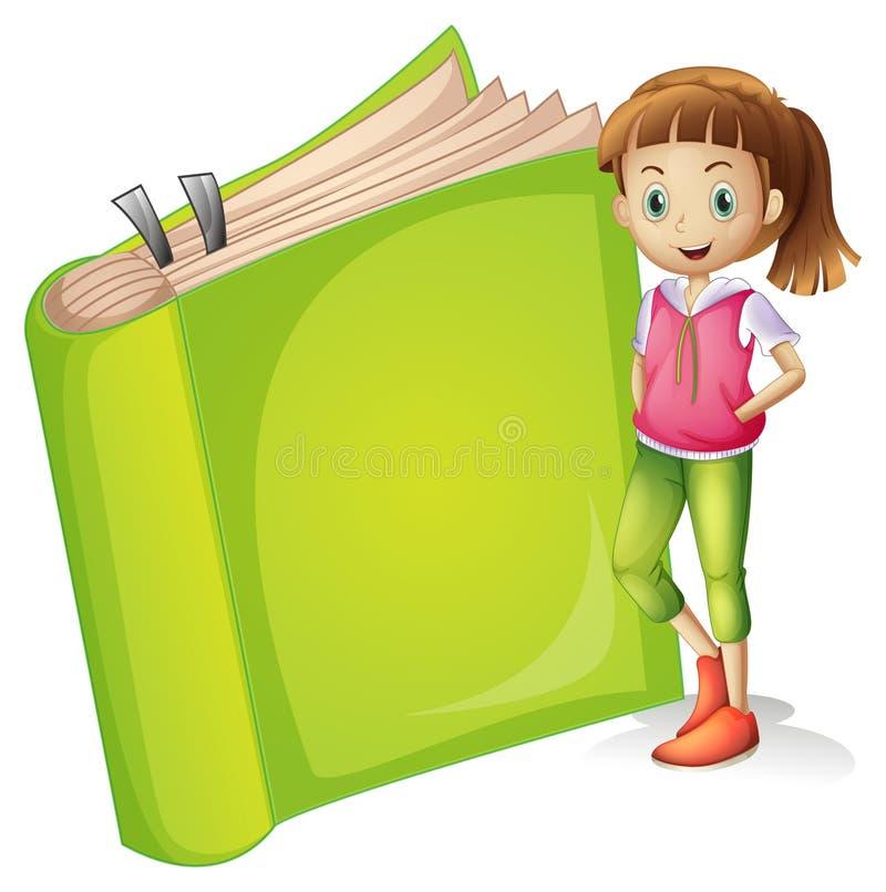 Ένα κορίτσι και ένα βιβλίο διανυσματική απεικόνιση