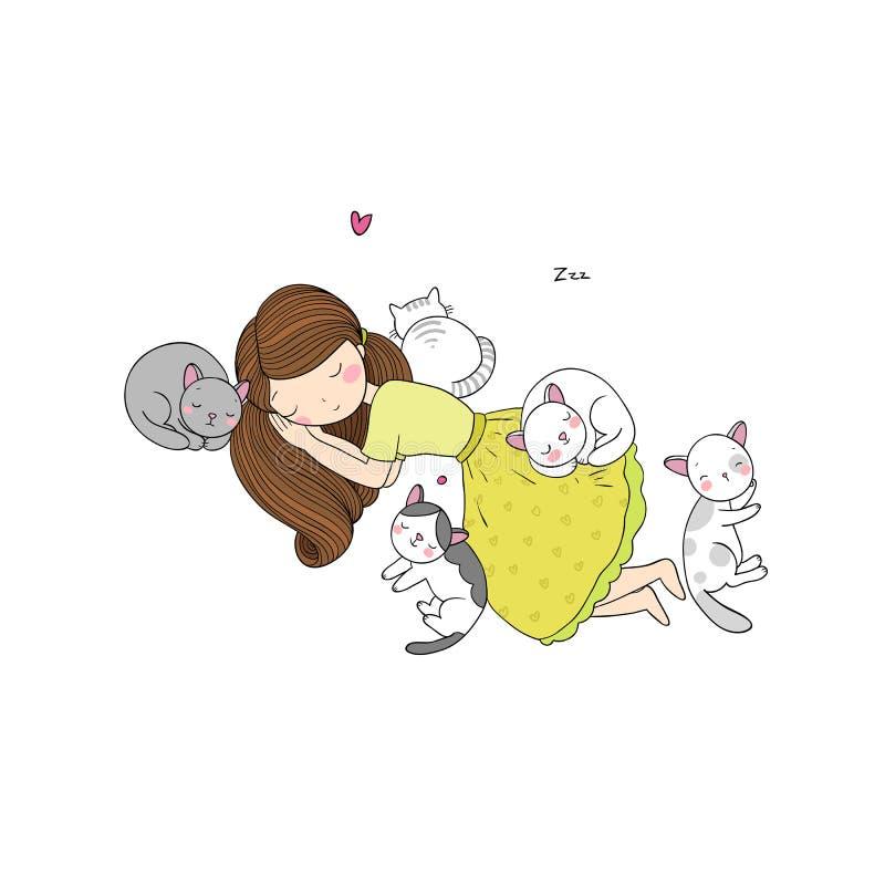 Ένα κορίτσι κινούμενων σχεδίων και ένας χαριτωμένος ύπνος γατών Καλά κατοικίδια ζώα απεικόνιση αποθεμάτων