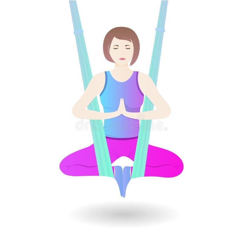 Ένα κορίτσι κρεμά σε μια αιώρα στη θέση λωτού Ένα asana πρακτικών γυναικών από την εναέρια γιόγκα διανυσματική απεικόνιση