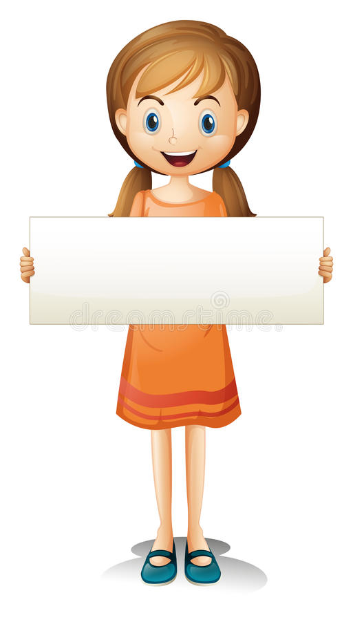 Ένα κορίτσι με ένα πορτοκαλί φόρεμα που κρατά ένα κενό έμβλημα ελεύθερη απεικόνιση δικαιώματος