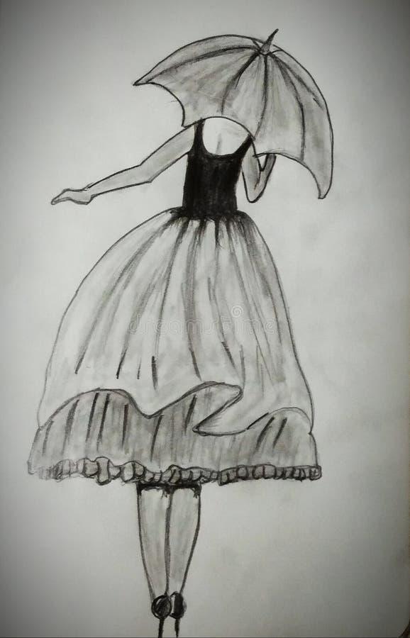 Ένα κορίτσι με ομπρέλα στοκ εικόνες