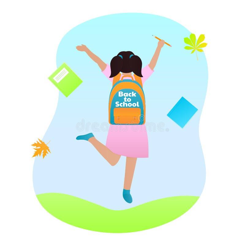Ένα κορίτσι με ένα σακίδιο πλάτης σε την πίσω και ένα μολύβι στο χέρι της πηδά E ελεύθερη απεικόνιση δικαιώματος