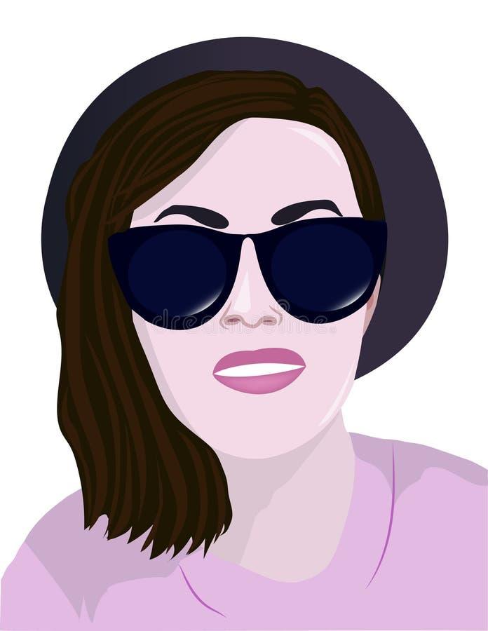 ένα κορίτσι με τα γυαλιά και ένα καπέλο απεικόνιση αποθεμάτων