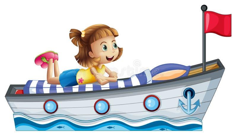 Ένα κορίτσι που βρίσκεται επάνω από το σκάφος με μια κόκκινη σημαία ελεύθερη απεικόνιση δικαιώματος