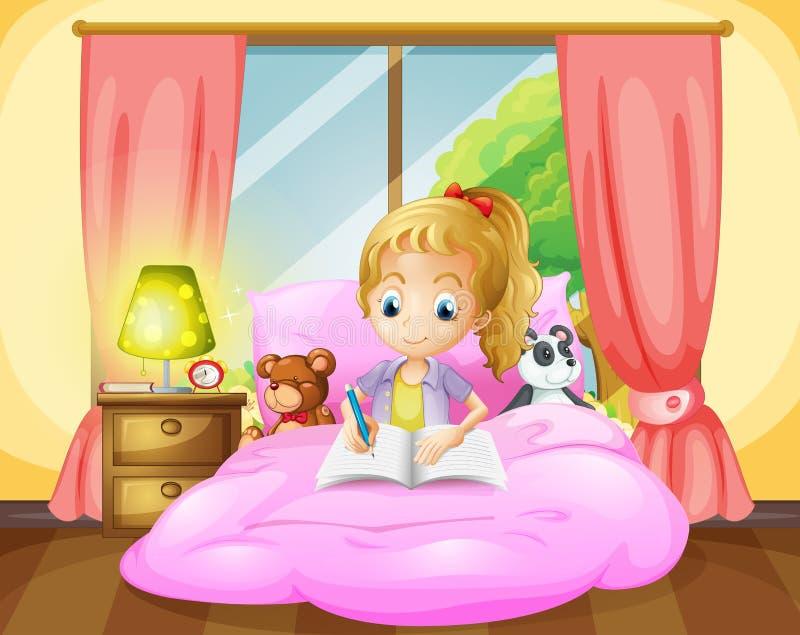 Ένα κορίτσι που γράφει μέσα στο δωμάτιό της απεικόνιση αποθεμάτων