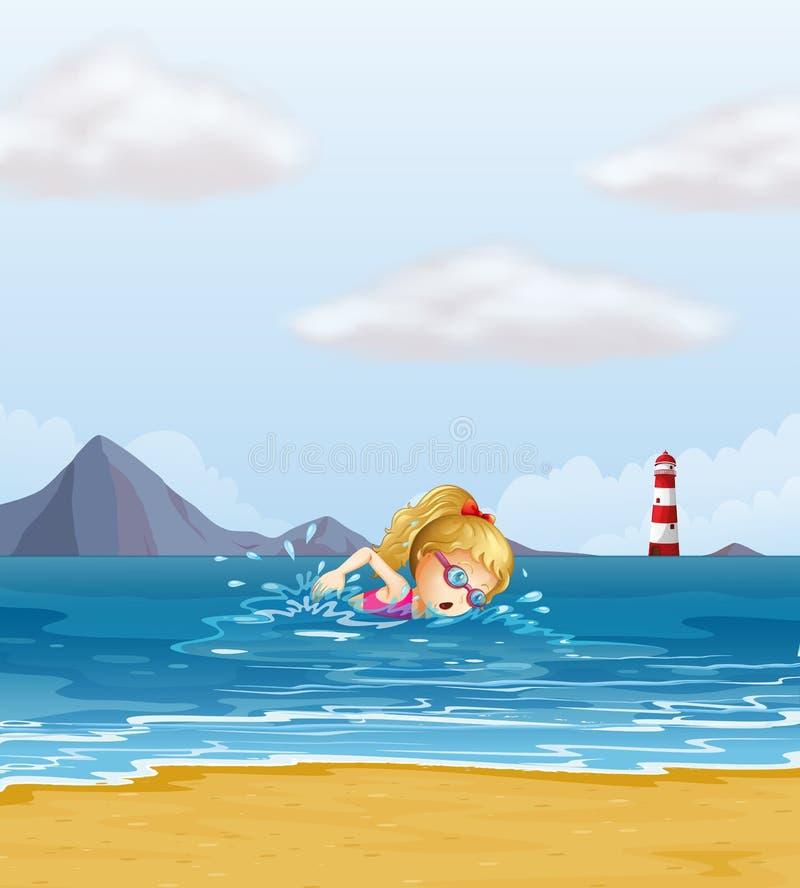 Ένα κορίτσι που κολυμπά στη θάλασσα με ένα αναγνωριστικό σήμα στην πλάτη διανυσματική απεικόνιση