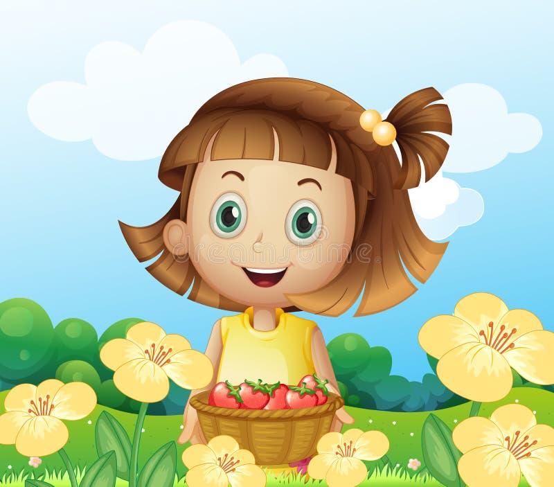 Ένα κορίτσι που κρατά ένα καλάθι των φρούτων διανυσματική απεικόνιση