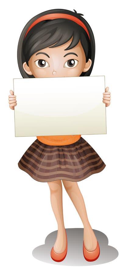 Ένα κορίτσι που κρατά ένα κενό κομμάτι χαρτί διανυσματική απεικόνιση