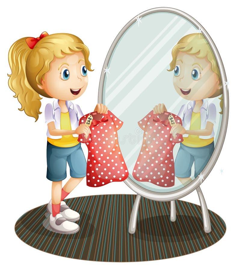 Ένα κορίτσι που κρατά ένα κόκκινο φόρεμα μπροστά από τον καθρέφτη ελεύθερη απεικόνιση δικαιώματος