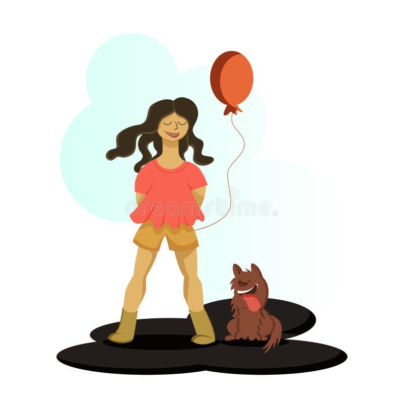 Ένα κορίτσι που κρατά ένα baloon στο διάνυσμα ελεύθερη απεικόνιση δικαιώματος
