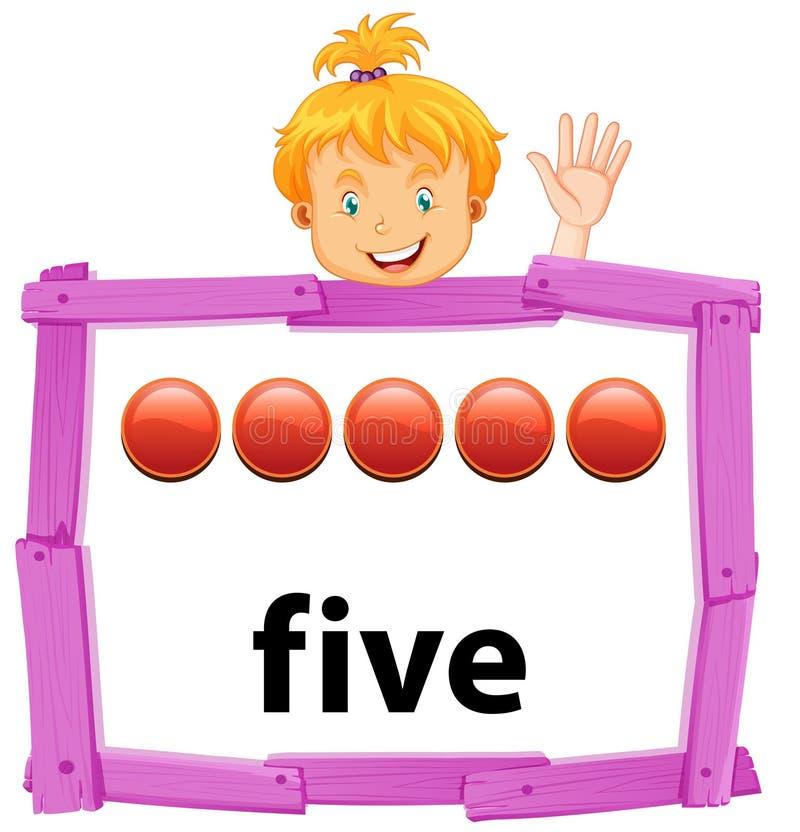 Ένα κορίτσι που παρουσιάζει στον αριθμό πέντε έμβλημα ελεύθερη απεικόνιση δικαιώματος