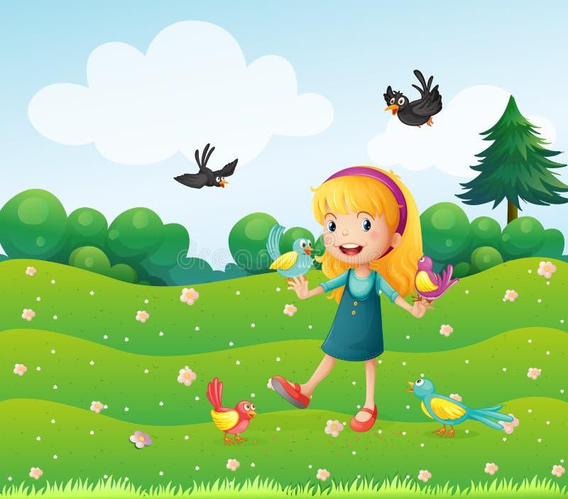Ένα κορίτσι που περιβάλλεται από πολλά πουλιά ελεύθερη απεικόνιση δικαιώματος