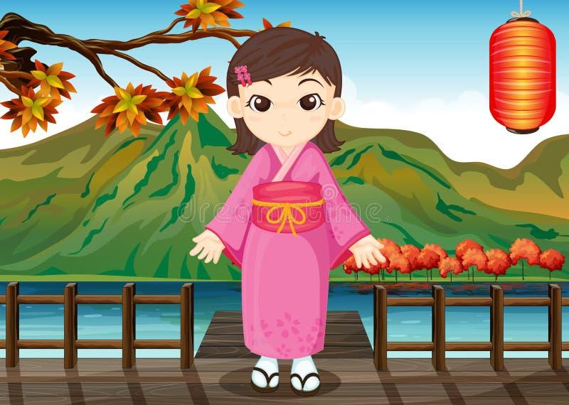 Ένα κορίτσι που φορά ένα κινεζικό φόρεμα διανυσματική απεικόνιση