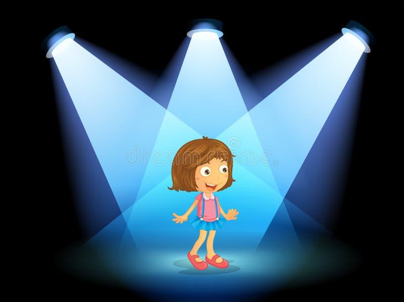Ένα κορίτσι που χαμογελά στο κέντρο του σταδίου απεικόνιση αποθεμάτων