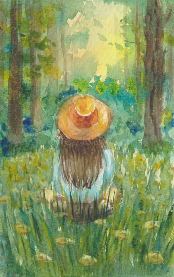 Ένα κορίτσι σε ένα καπέλο κάθεται σε ένα λιβάδι και εξετάζει το δάσος ελεύθερη απεικόνιση δικαιώματος