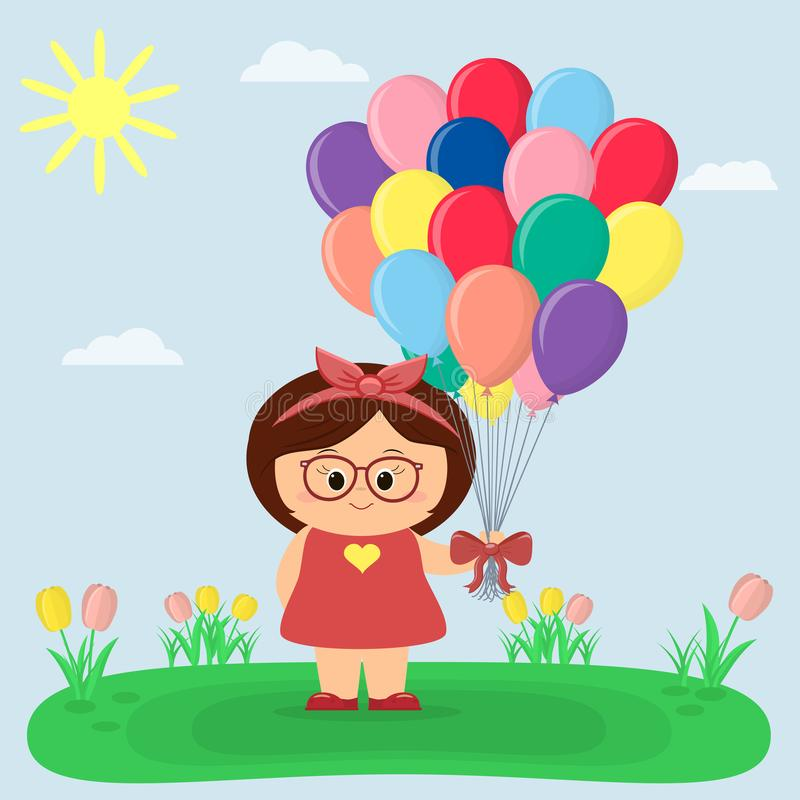 Ένα κορίτσι σε ένα κόκκινο φόρεμα και τα γυαλιά κρατά τα μπαλόνια, ένα ξέφωτο με τις τουλίπες, τον ήλιο και τον ουρανό απεικόνιση αποθεμάτων