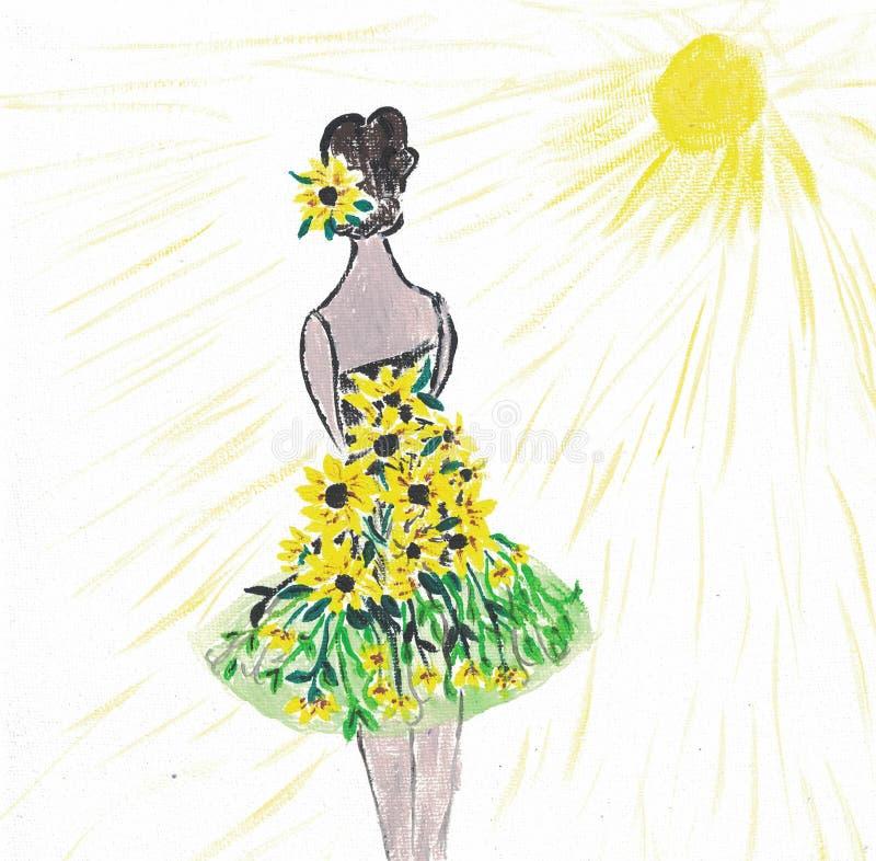 Ένα κορίτσι σε ένα φόρεμα ηλίανθων χρωμάτισε με το acrylics ελεύθερη απεικόνιση δικαιώματος