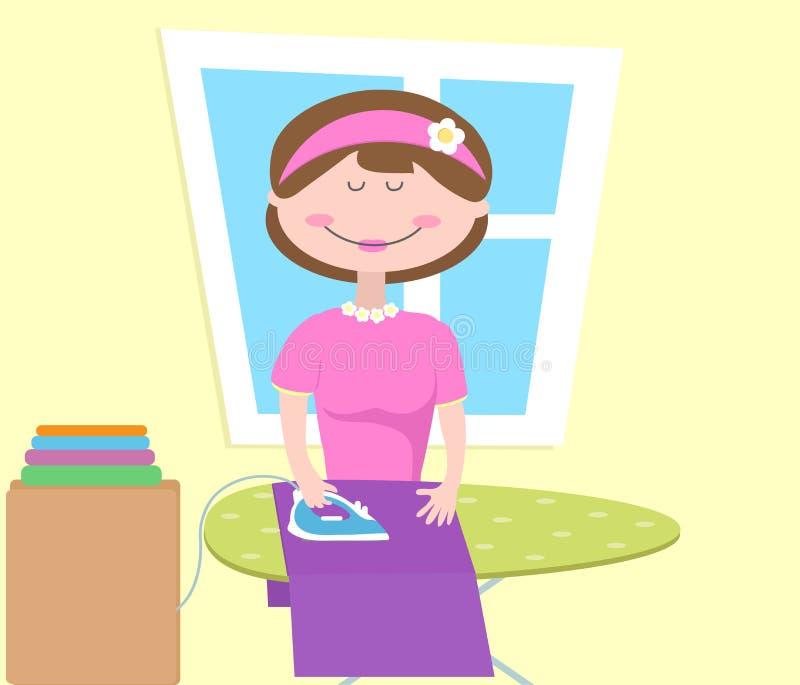 Ένα κορίτσι σιδερώνει τα ενδύματα διανυσματική απεικόνιση