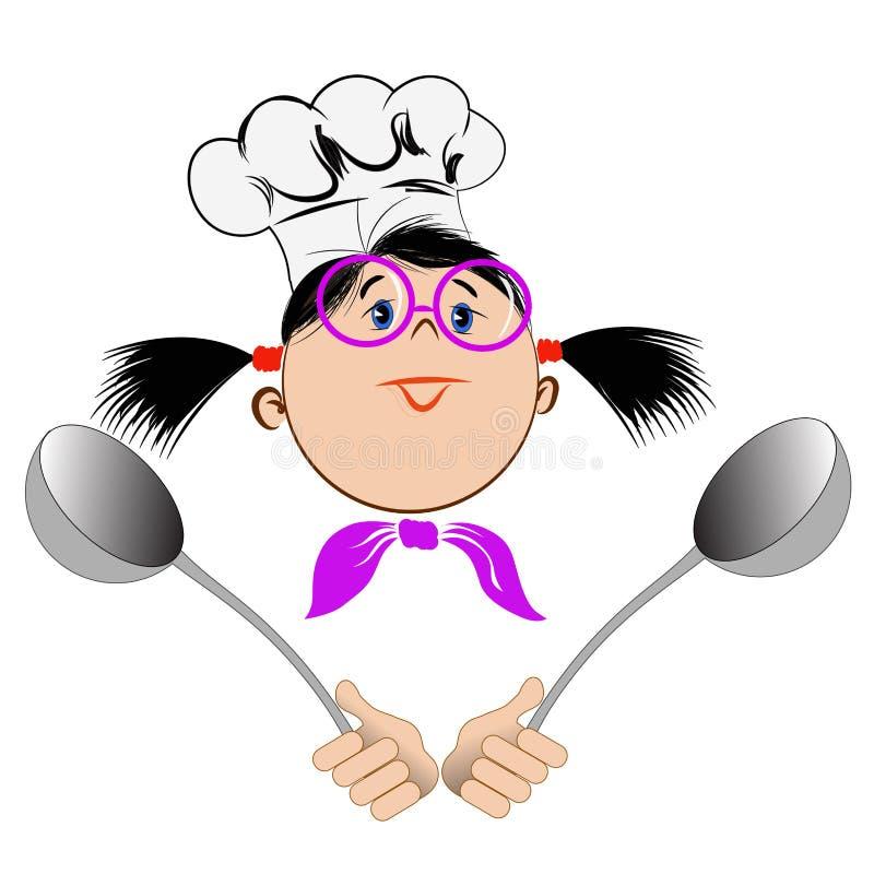 Ένα κορίτσι στα γυαλιά και ένα καπέλο αρχιμαγείρων ` s ελεύθερη απεικόνιση δικαιώματος