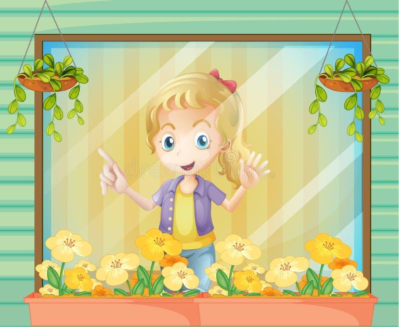 Ένα κορίτσι στο παράθυρο ελεύθερη απεικόνιση δικαιώματος