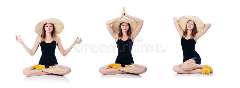 Ένα κορίτσι συνεδρίασης που απομονώνεται στο λευκό στοκ εικόνα με δικαίωμα ελεύθερης χρήσης