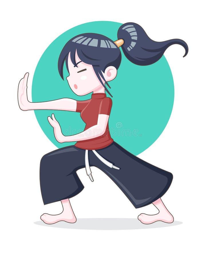 Ένα κορίτσι τρίχας ponytail που εκπαιδεύει τη διανυσματική απεικόνιση Kungfu διανυσματική απεικόνιση
