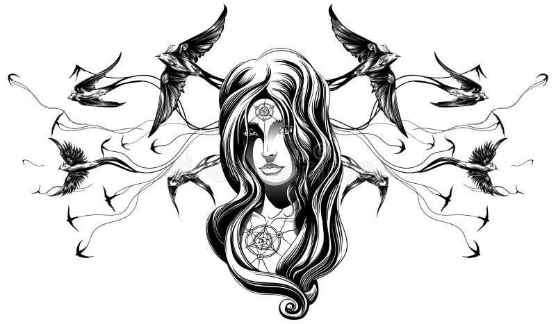 Ένα κορίτσι goth διανυσματική απεικόνιση