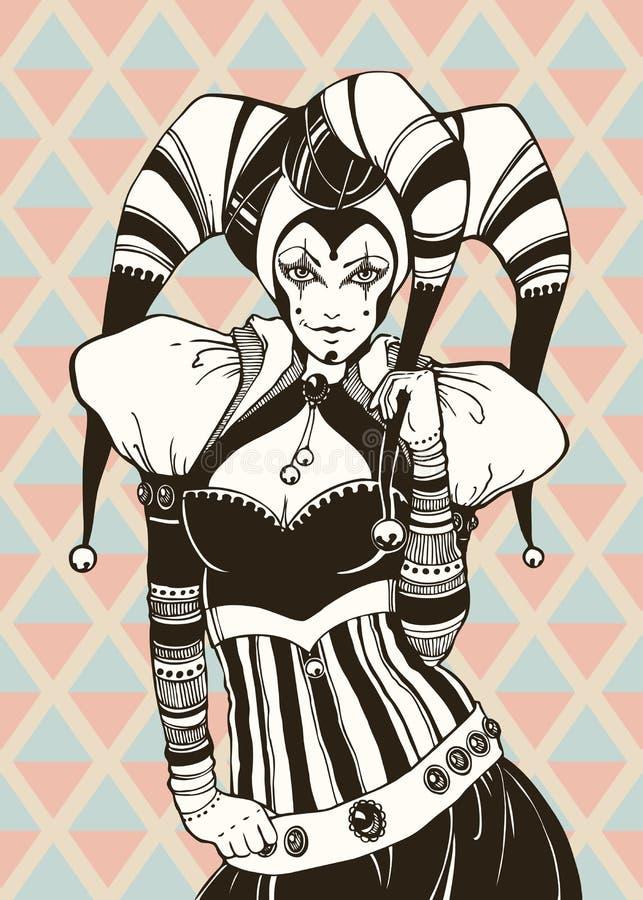 Ένα κορίτσι jester κοστουμιών απεικόνιση αποθεμάτων