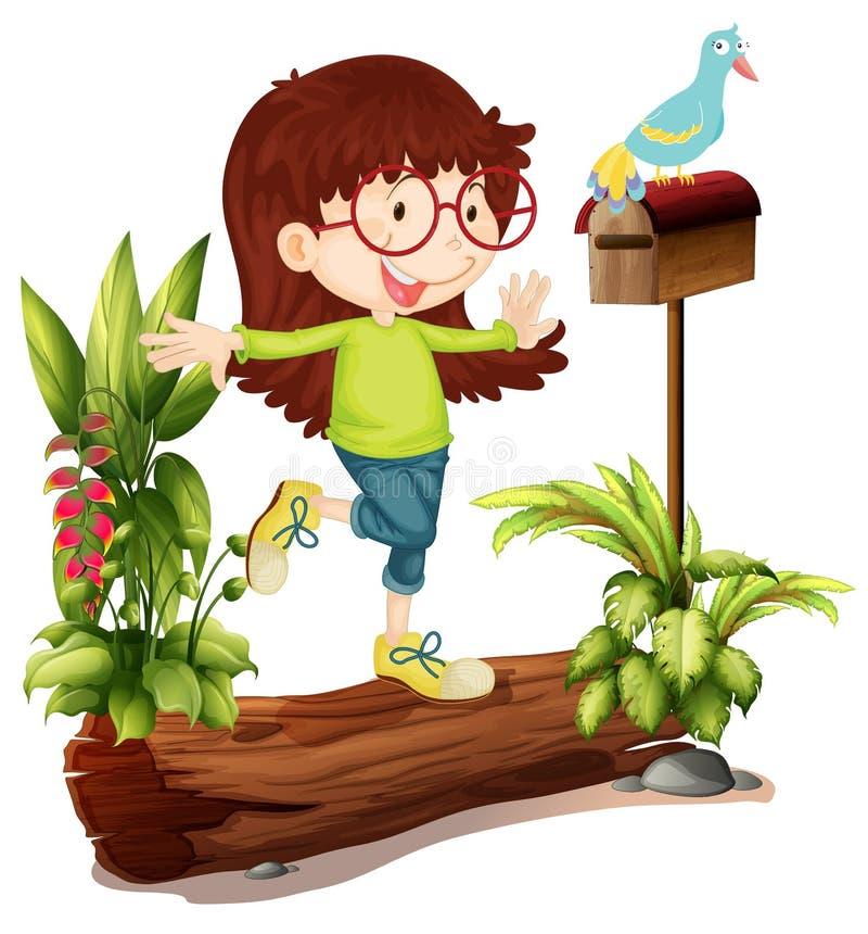 Ένα κορίτσι nerd και ένα πουλί ελεύθερη απεικόνιση δικαιώματος