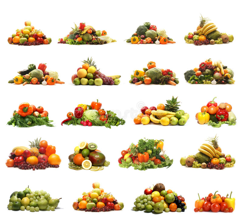 Ένα κολάζ πολλών διαφορετικών φρούτων και λαχανικών στοκ φωτογραφίες