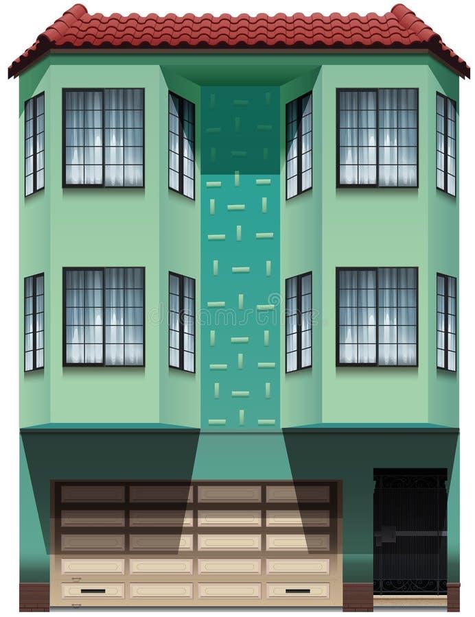 Ένα κτήριο με ένα συνημμένο γκαράζ απεικόνιση αποθεμάτων