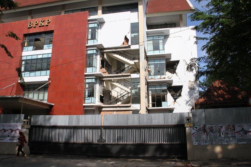 Ένα κτήριο χαλασμένο από το σεισμό 2009 σε Padang, δύση Sumatra στοκ φωτογραφίες με δικαίωμα ελεύθερης χρήσης
