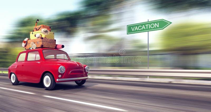 Ένα κόκκινο αυτοκίνητο με τις αποσκευές στη στέγη πηγαίνει γρήγορα στις διακοπές ελεύθερη απεικόνιση δικαιώματος