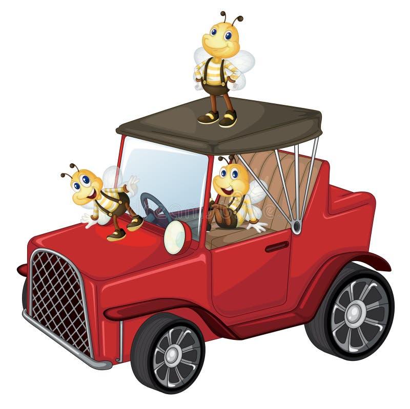 Ένα κόκκινο αυτοκίνητο με τις μέλισσες ελεύθερη απεικόνιση δικαιώματος