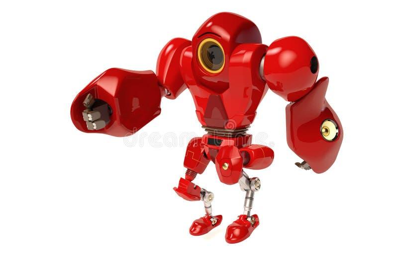 Ένα κόκκινο περπάτημα ρομπότ ελεύθερη απεικόνιση δικαιώματος