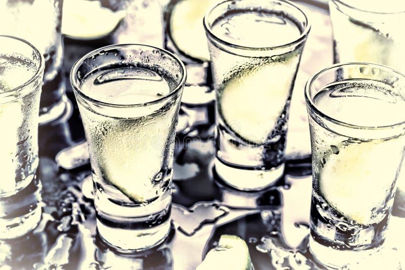 Ένα κόμμα στη λέσχη Κοκτέιλ στο φραγμό αλκοολών Βότκα, τζιν, tequila με τον πάγο και ασβέστης Οινοπνευματώδες κοκτέιλ κοκτέιλ εκλ στοκ φωτογραφίες