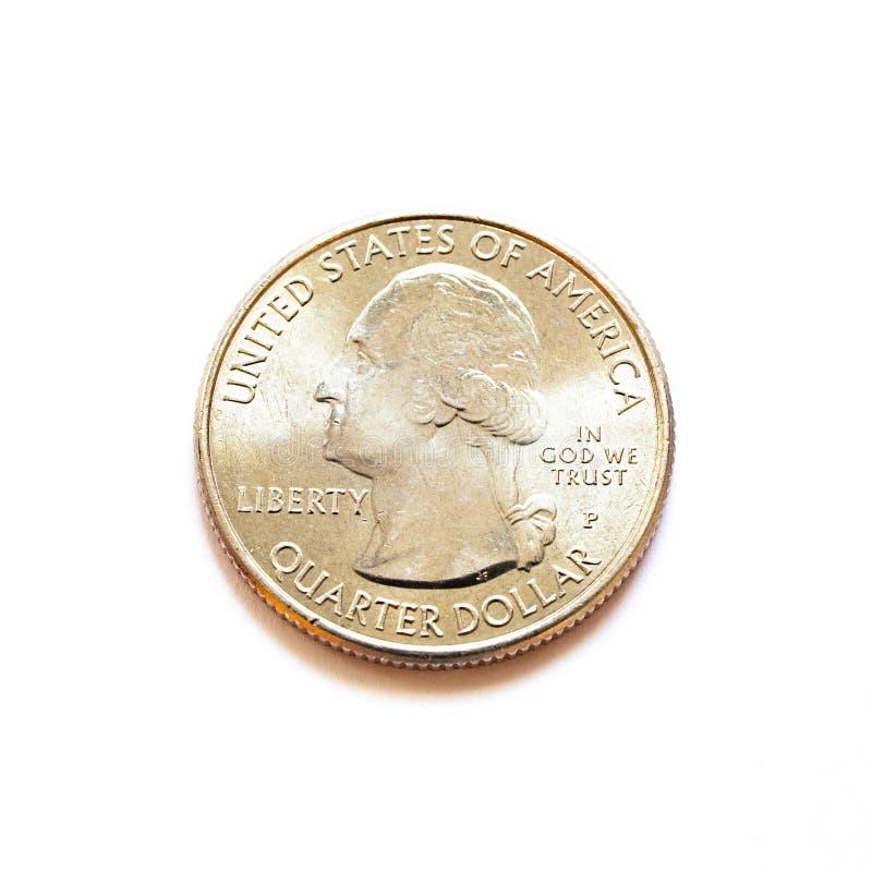 Ένα λαμπρό νόμισμα δολαρίων αμερικανικών τετάρτων στοκ φωτογραφία