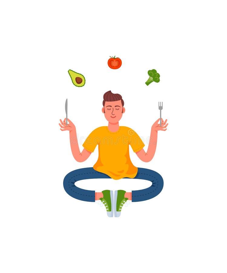 Ένα λεπτό άτομο κάθεται θέτει της περισυλλογής με ένα δίκρανο και ένα μαχαίρι στα χέρια του με τα υγιή τρόφιμα γύρω Αβοκάντο, μπρ απεικόνιση αποθεμάτων