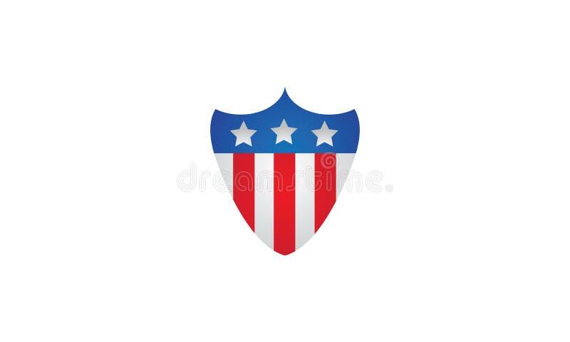 Ένα λογότυπο ασπίδων στο μπλε με τη αμερικανική σημαία το κέντρο ελεύθερη απεικόνιση δικαιώματος