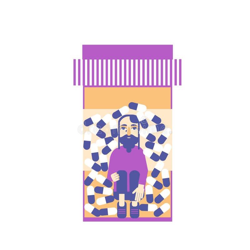 Ένα λυπημένο άτομο που παγιδεύεται μέσα σε μια διανυσματική έννοια μπουκαλιών χαπιών ελεύθερη απεικόνιση δικαιώματος