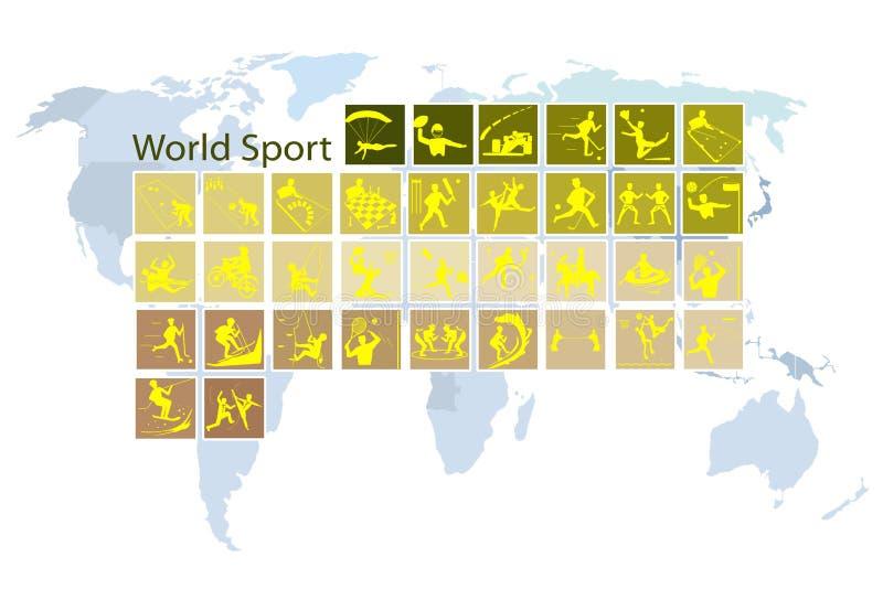 Ένα μέγα σύνολο 35 εικονιδίων παγκόσμιου αθλητισμού διανυσματική απεικόνιση